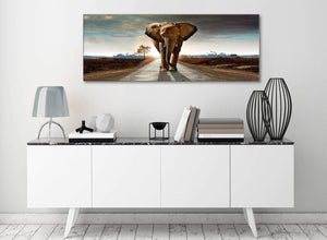 Modern Elephant Landscape - Canvas Wall Art - 1209 - 120cm Wide Print