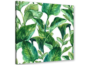 Modern Green Palm Tropical Banana Leaves Canvas Modern 64cm Square 1S324M For Your Dining Room