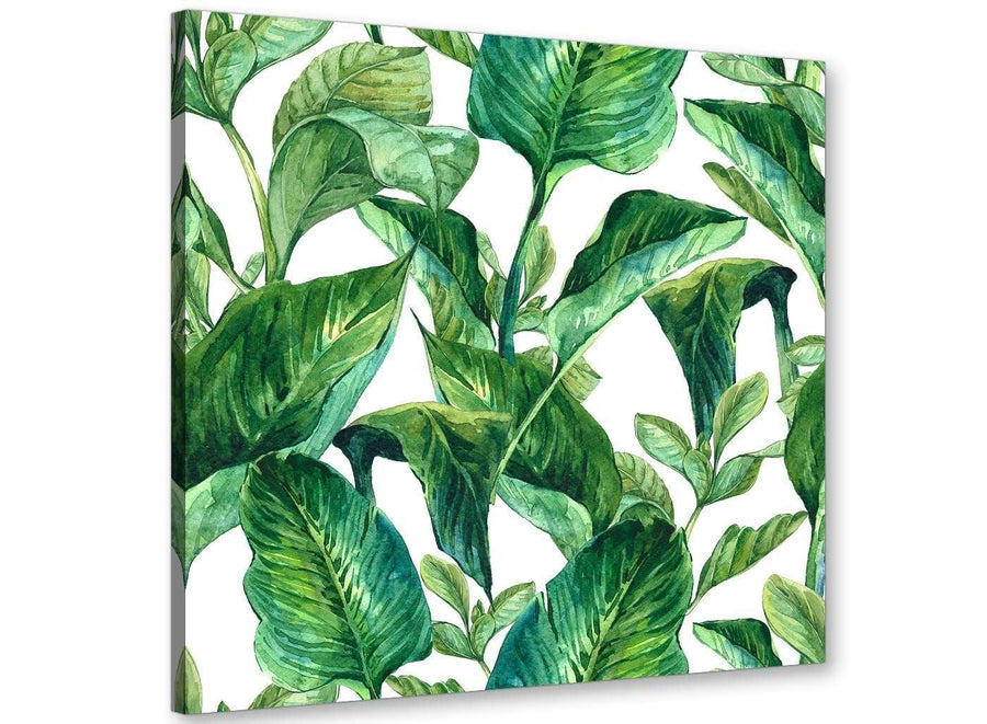 Modern Green Palm Tropical Banana Leaves Canvas Modern 79cm Square 1S324L For Your Living Room