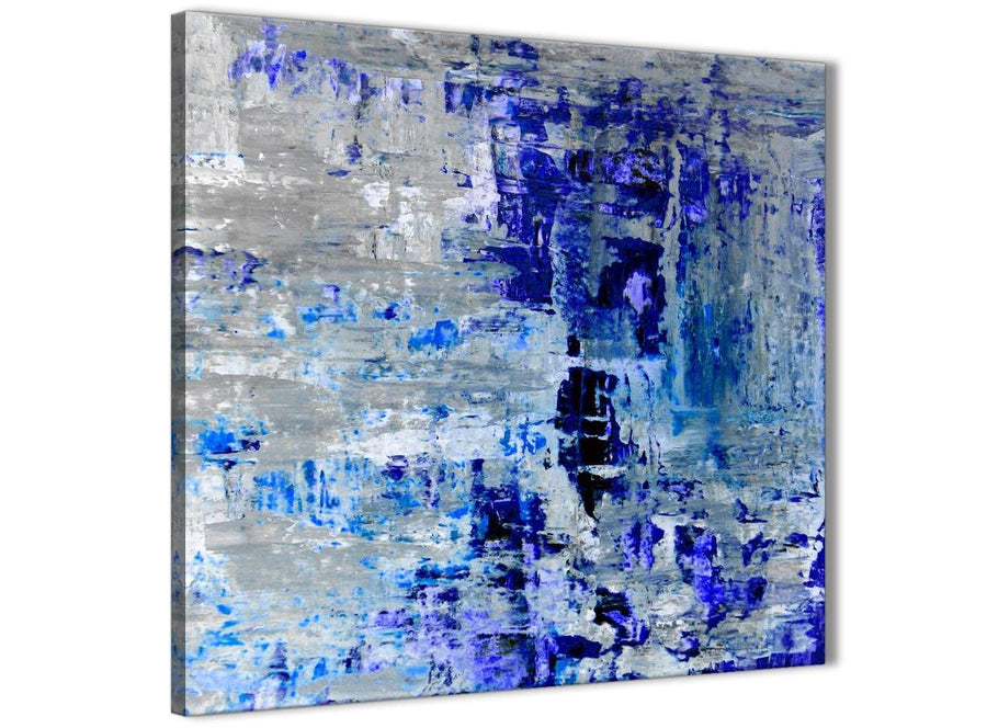 Modern Indigo Blue Grey Abstract Painting Wall Art Print Canvas Modern 49cm Square 1S358S For Your Dining Room