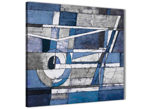Modern Indigo Blue White Painting Abstract Dining Room Canvas Pictures Accessories 1s404l - 79cm Square Print