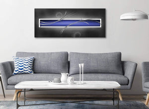 Modern Indigo Navy Blue Grey White Abstract Living Room Canvas Wall Art Accessories - Abstract 1348 - 120cm Print