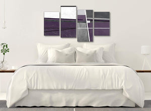 Modern Large Aubergine Grey Painting Abstract Bedroom Canvas Pictures Decor - 4392 - 130cm Set of Prints