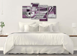 Modern Large Aubergine Grey White Painting Abstract Bedroom Canvas Wall Art Decor - 4406 - 130cm Set of Prints