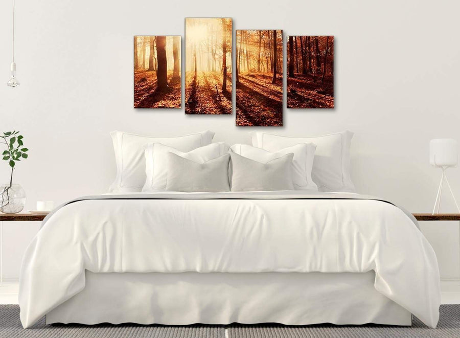 Modern Large Autumn Leaves Forest Scenic Landscapes Canvas Art Prints - Trees - 4386 Orange - 130cm Set of Pictures