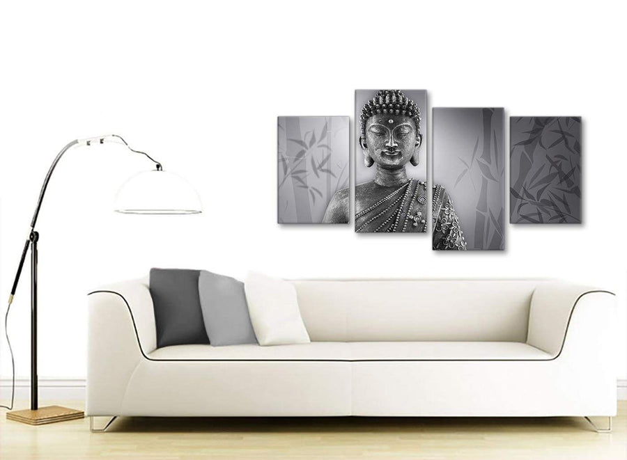 Modern Large Black White Buddha Living Room Canvas Pictures Decor - 4373 - 130cm Set of Prints