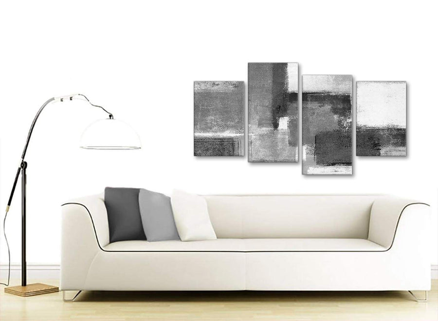 Modern Large Black White Grey Abstract Bedroom Canvas Pictures Decor - 4368 - 130cm Set of Prints