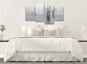 Modern Large Black White Grey Tree Landscape Painting Living Room Canvas Pictures Decor - 4416 - 130cm Set of Prints