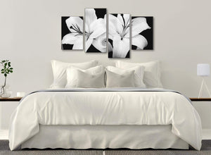 Modern Large Black White Lily Flower Bedroom Canvas Wall Art Decor - 4458 - 130cm Set of Prints