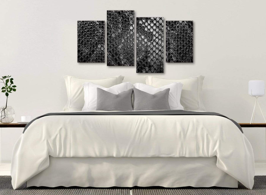 Modern Large Black White Snakeskin Animal Print Abstract Bedroom Canvas Pictures Decor - 4510 - 130cm Set of Prints