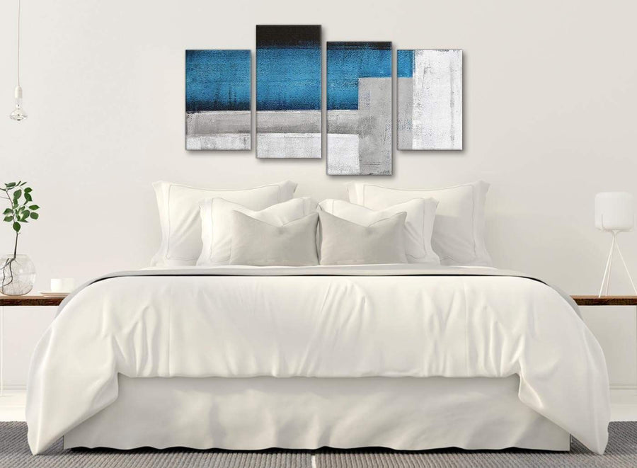Modern Large Blue Grey Painting Abstract Living Room Canvas Pictures Decor - 4423 - 130cm Set of Prints