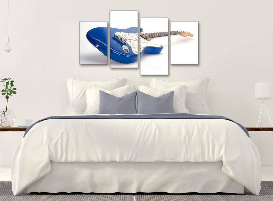 Modern Large Blue White Fender Electric Guitar - Living Room Canvas Pictures Decor - 4447 - 130cm Set of Prints
