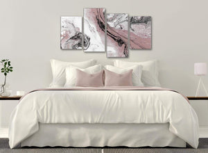 Modern Large Blush Pink and Grey Swirl Abstract Living Room Canvas Wall Art Decor - 4463 - 130cm Set of Prints