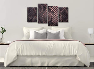 Modern Large Blush Pink Snakeskin Animal Print Abstract Bedroom Canvas Wall Art Decor - 4473 - 130cm Set of Prints