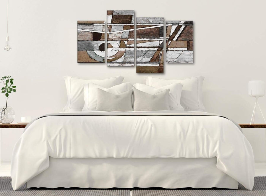 Modern Large Brown Beige White Painting Abstract Bedroom Canvas Pictures Decor - 4407 - 130cm Set of Prints