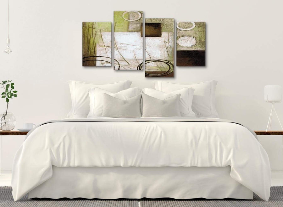 Modern Large Brown Green Painting Abstract Bedroom Canvas Pictures Decor - 4421 - 130cm Set of Prints