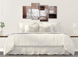 Modern Large Brown White Painting Abstract Bedroom Canvas Pictures Decor - 4422 - 130cm Set of Prints