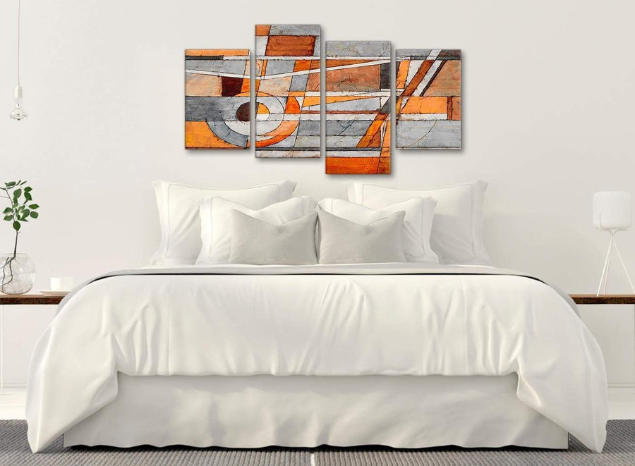 Modern Large Burnt Orange Grey Painting Abstract Bedroom Canvas Pictures Decor - 4405 - 130cm Set of Prints