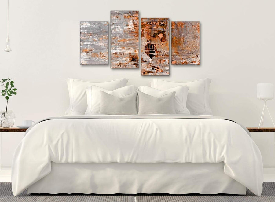 Modern Large Burnt Orange Grey Painting Abstract Bedroom Canvas Pictures Decor - 4415 - 130cm Set of Prints