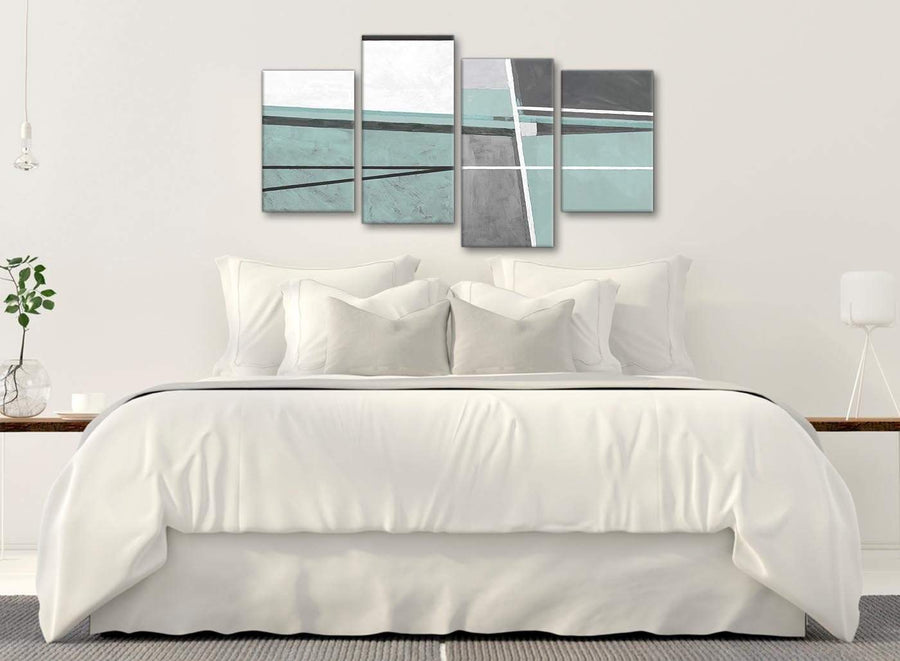 Modern Large Duck Egg Blue Grey Painting Abstract Bedroom Canvas Wall Art Decor - 4396 - 130cm Set of Prints