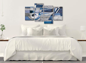 Modern Large Indigo Blue White Painting Abstract Bedroom Canvas Pictures Decor - 4404 - 130cm Set of Prints