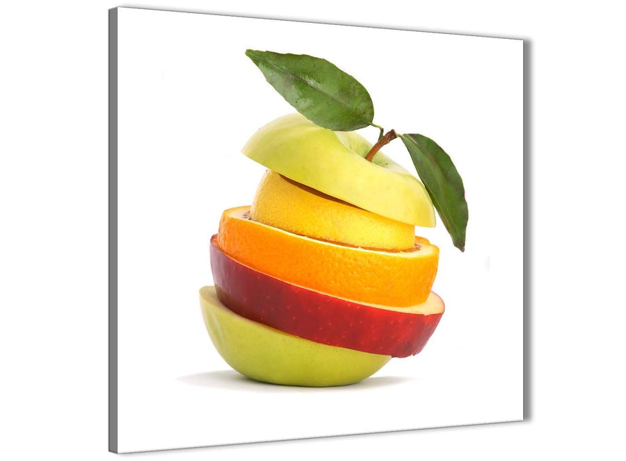 Modern Large Kitchen Canvas Art Print Sliced Fruit - Apple Shape Food Stack - 1s483l - 79cm XL Square Picture