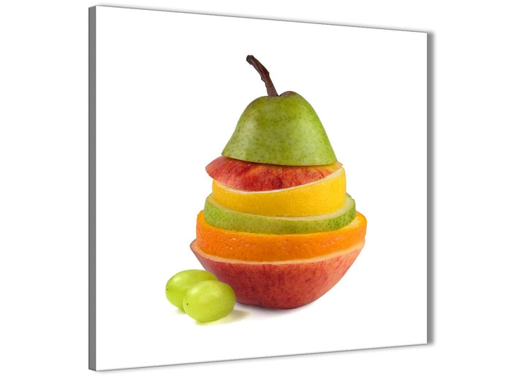 Modern Large Kitchen Canvas Wall Art Sliced Fruit - Pear Shape Food Stack - 1s482l - 79cm XL Square Picture