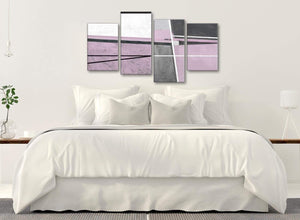 Modern Large Lilac Grey Painting Abstract Bedroom Canvas Pictures Decor - 4395 - 130cm Set of Prints