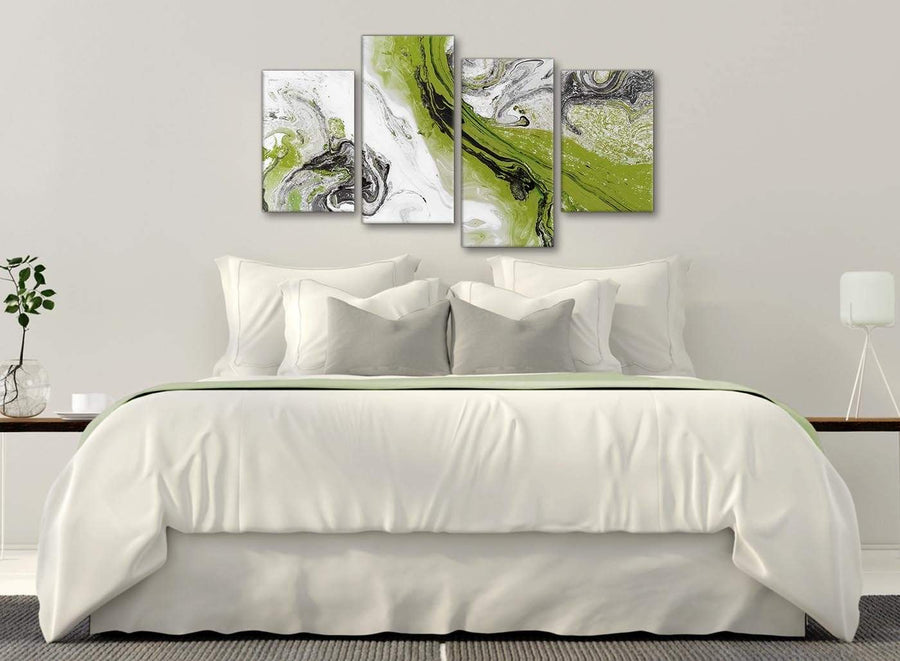Modern Large Lime Green and Grey Swirl Abstract Bedroom Canvas Wall Art Decor - 4464 - 130cm Set of Prints