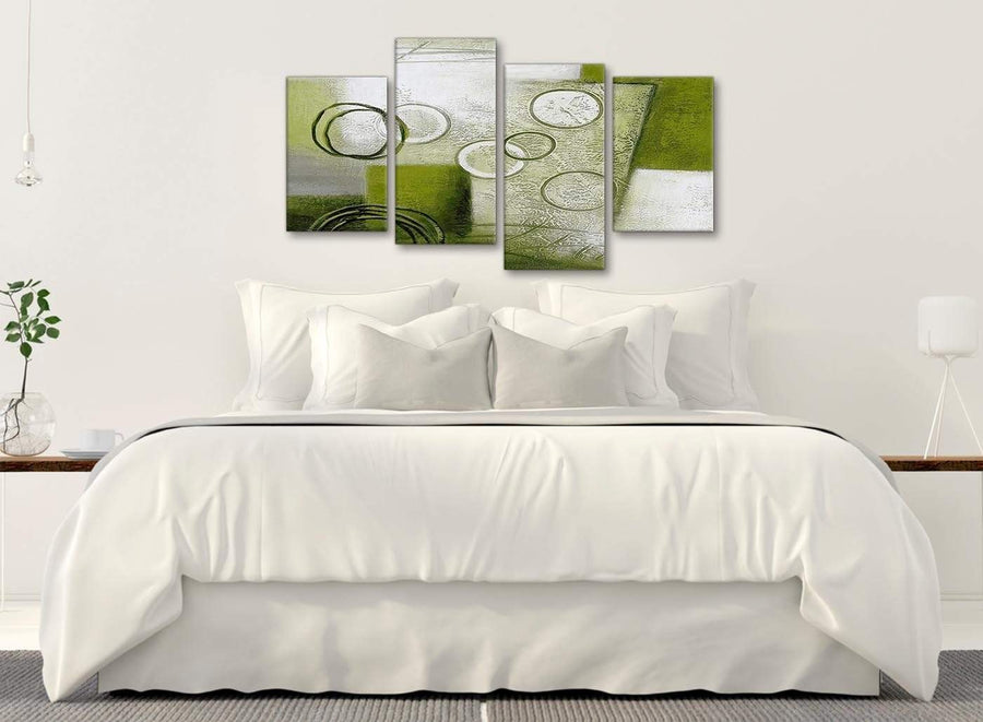 Modern Large Lime Green Painting Abstract Bedroom Canvas Pictures Decor - 4434 - 130cm Set of Prints