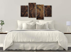 Modern Large Mustard Gold Snakeskin Animal Print Abstract Living Room Canvas Wall Art Decor - 4474 - 130cm Set of Prints