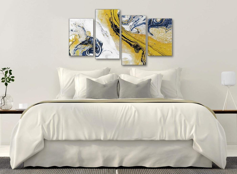 Modern Large Mustard Yellow and Blue Swirl Abstract Bedroom Canvas Pictures Decor - 4469 - 130cm Set of Prints