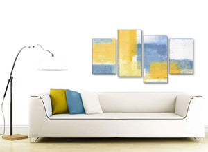 Modern Large Mustard Yellow Blue Abstract Living Room Canvas Pictures Decor - 4371 - 130cm Set of Prints