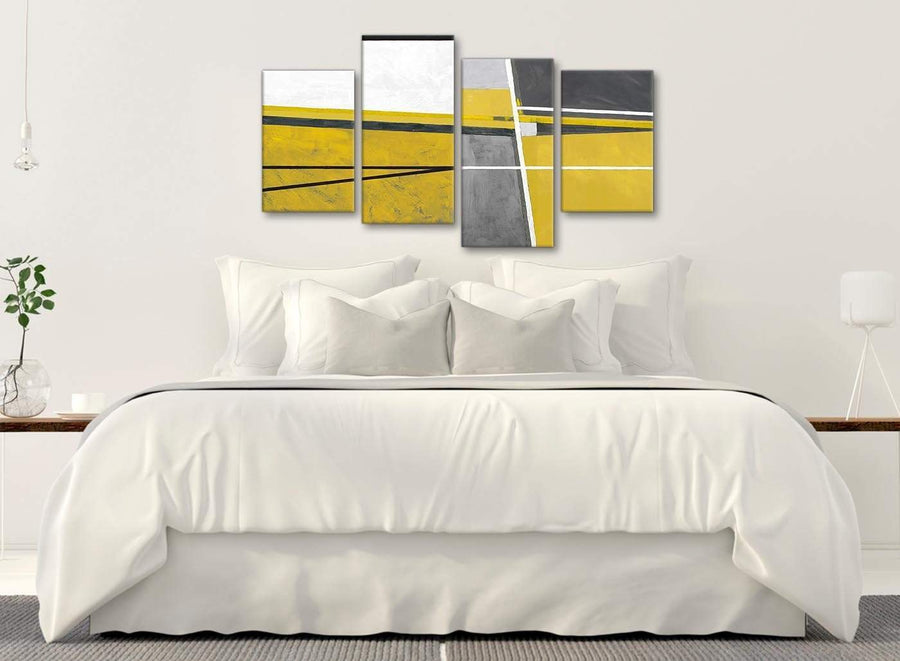 Modern Large Mustard Yellow Grey Painting Abstract Living Room Canvas Wall Art Decor - 4388 - 130cm Set of Prints