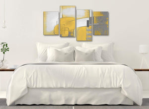 Modern Large Mustard Yellow Grey Painting Abstract Bedroom Canvas Wall Art Decor - 4419 - 130cm Set of Prints