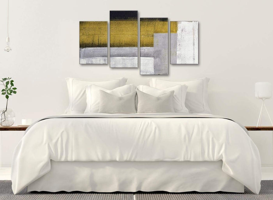 Modern Large Mustard Yellow Grey Painting Abstract Bedroom Canvas Wall Art Decor - 4425 - 130cm Set of Prints