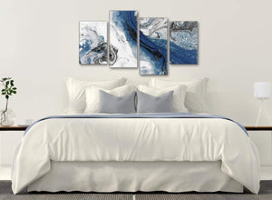 Modern Large Blue and Grey Swirl Abstract Bedroom Canvas Pictures Decor - 4465 - 130cm Set of Prints