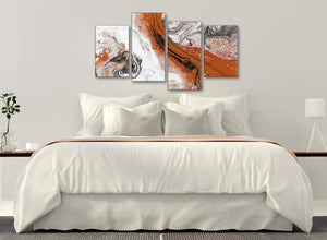 Modern Large Orange and Grey Swirl Abstract Bedroom Canvas Pictures Decor - 4461 - 130cm Set of Prints
