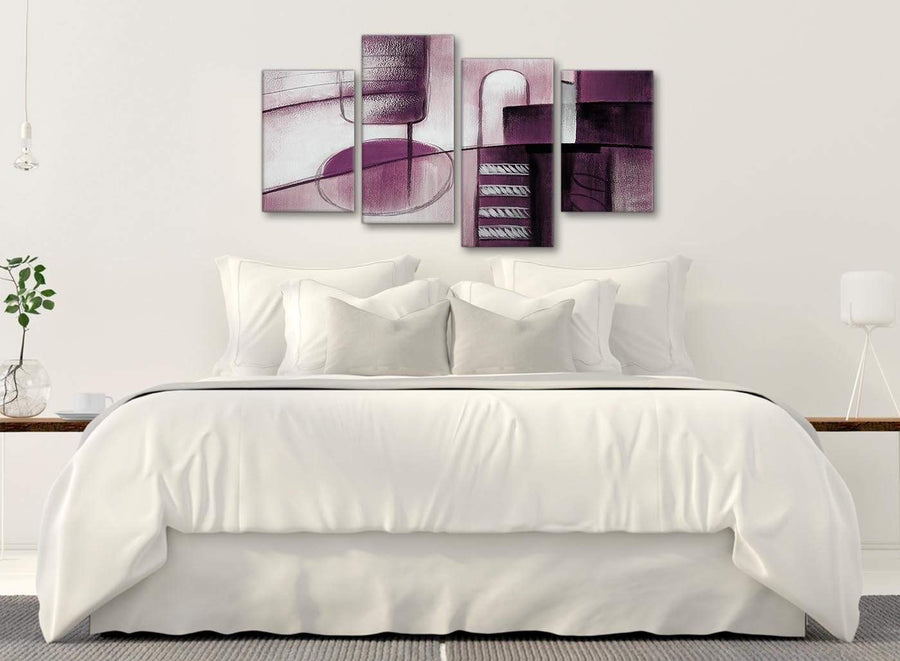 Modern Large Plum Grey Painting Abstract Bedroom Canvas Pictures Decor - 4420 - 130cm Set of Prints