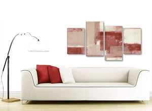 Modern Large Red and Cream Abstract Bedroom Canvas Pictures Decor - 4370 - 130cm Set of Prints