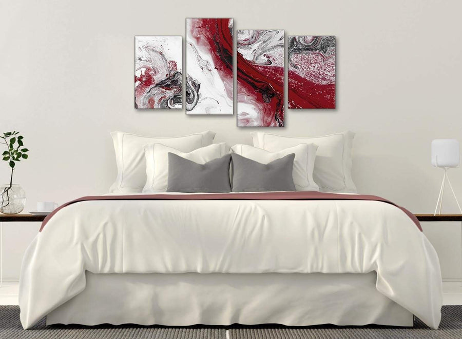 Modern Large Red and Grey Swirl Abstract Bedroom Canvas Pictures Decor - 4467 - 130cm Set of Prints