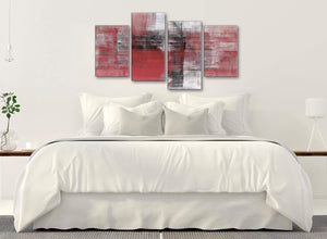 Modern Large Red Black White Painting Abstract Living Room Canvas Pictures Decor - 4397 - 130cm Set of Prints