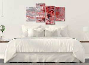 Modern Large Red Grey Painting Abstract Living Room Canvas Wall Art Decor - 4414 - 130cm Set of Prints