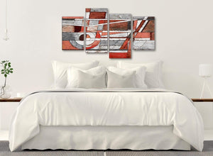 Modern Large Red Grey Painting Abstract Bedroom Canvas Wall Art Decor - 4401 - 130cm Set of Prints