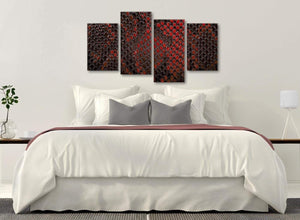 Modern Large Red Snakeskin Animal Print Abstract Living Room Canvas Pictures Decor - 4476 - 130cm Set of Prints