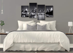 Modern Large River Thames Skyline of London Canvas Art Prints - Landscape - 4430 Black White Grey - 130cm Set of Pictures