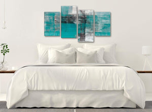 Modern Large Teal Black White Painting Abstract Living Room Canvas Pictures Decor - 4399 - 130cm Set of Prints