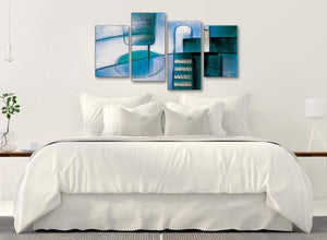 Modern Large Teal Cream Painting Abstract Bedroom Canvas Pictures Decor - 4417 - 130cm Set of Prints