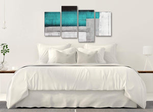 Modern Large Teal Turquoise Grey Painting Abstract Bedroom Canvas Pictures Decor - 4429 - 130cm Set of Prints