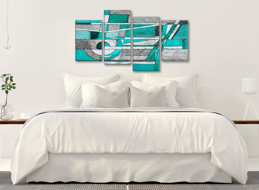 Modern Large Turquoise Grey Painting Abstract Bedroom Canvas Wall Art Decor - 4403 - 130cm Set of Prints